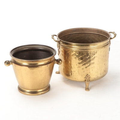Imperial Russian Brass Jardinière and Other Brass Claw Footed Planter