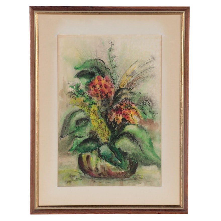 Floral Still Life Watercolor Painting, Late 20th Century