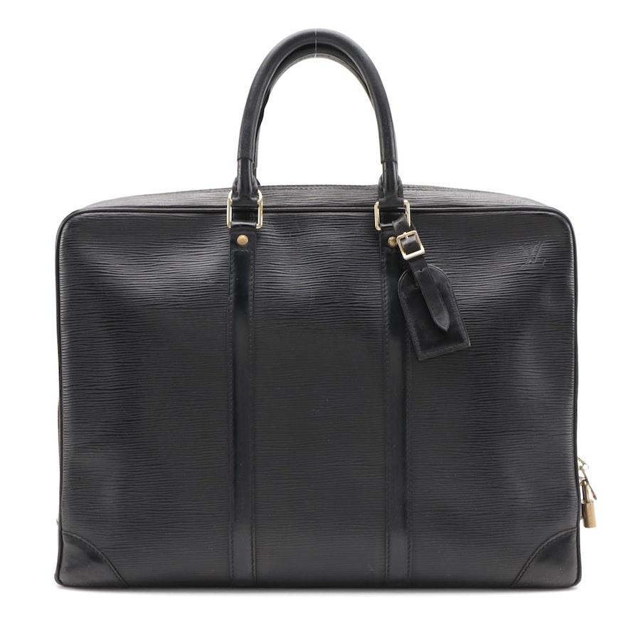 Louis Vuitton Porte-Documents Voyage Briefcase in Black Epi Leather