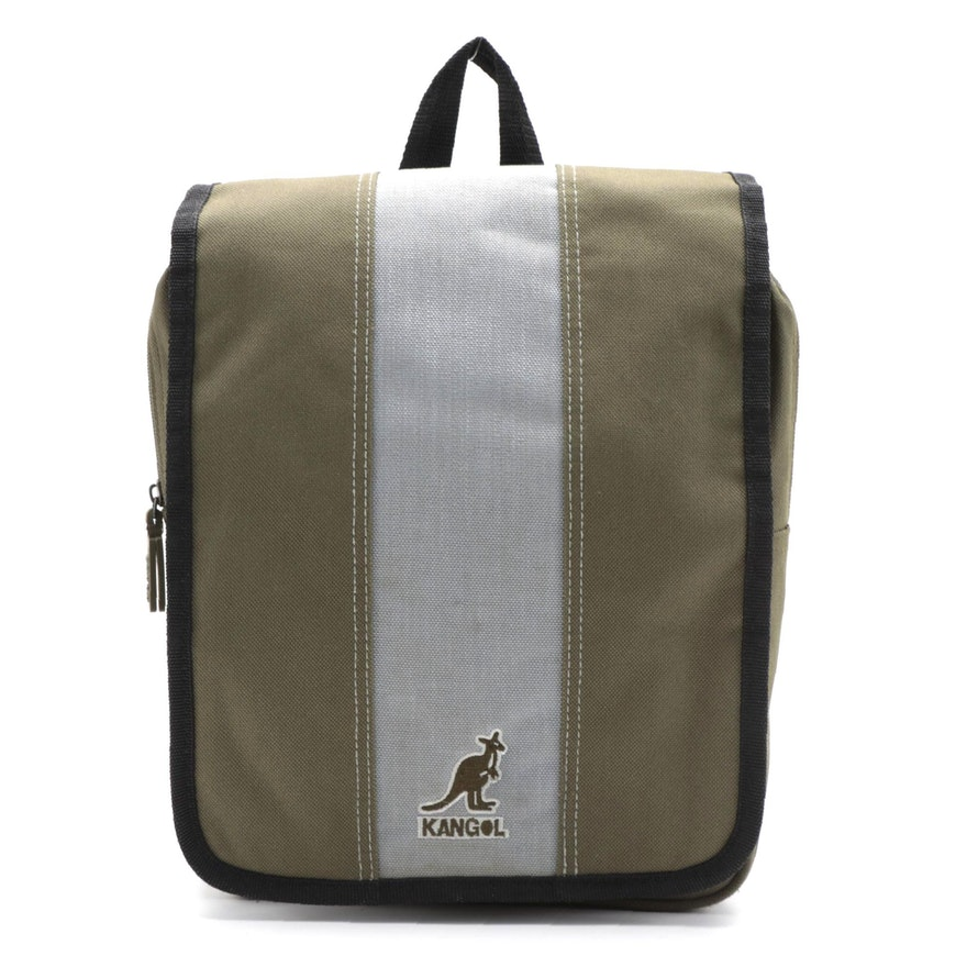 Kangol Canvas Sling Bag in Army Green/Gray with Black Trim