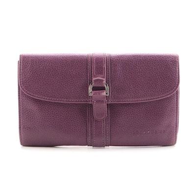 Longchamp Checkbook Long Wallet in Purple Grained Leather