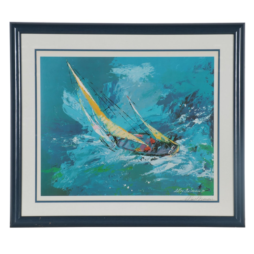 """LeRoy Neiman Offset Lithograph """"Sailing,"""" Late 20th Century"""
