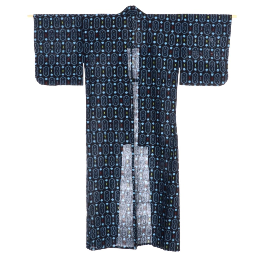 Japanese Ikat Kasuri Woven Kimono, Shōwa Period