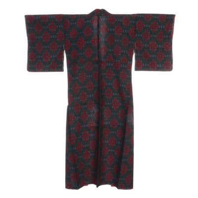 Japanese Floral Woven Tsumugi Kimono, Shōwa Period