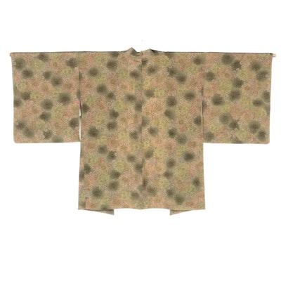 Textured Green Floral Manju Kiku Haori, Shōwa Period