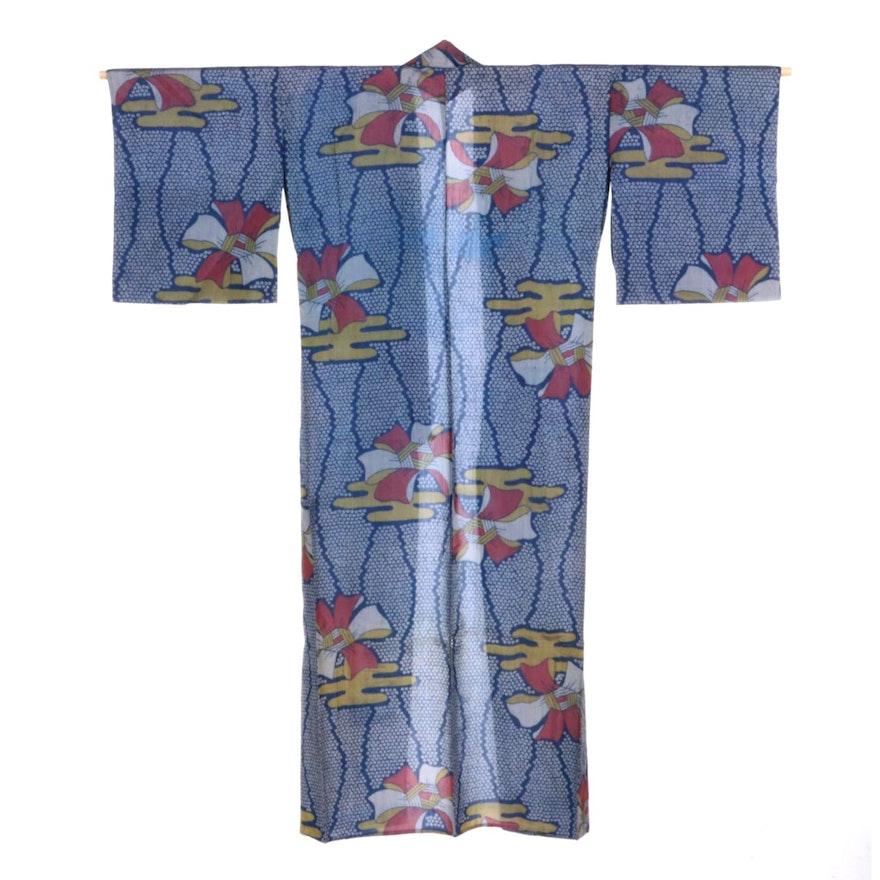 Kasumi, Knotted Ribbon and Kanoko Patterned Kimono, Taishō Period