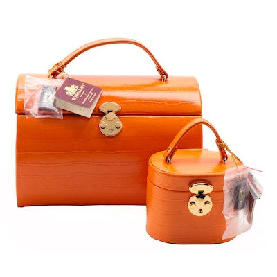 Rowallan Orange Crocodile Embossed Faux Leather Travel Jewelry Cases