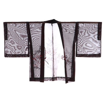 Wisteria and Bush Clover Embroidered Sheer Natsu Haori with Himo, Shōwa Period