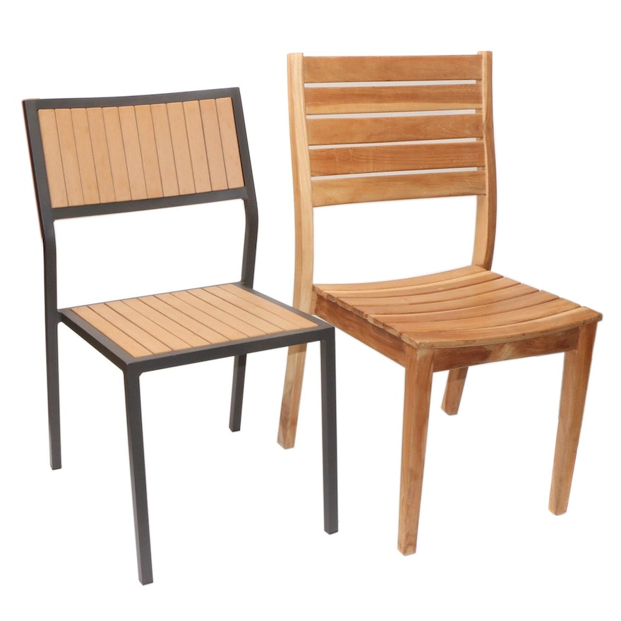Two Modern Style Commercial Wood Dining Chairs