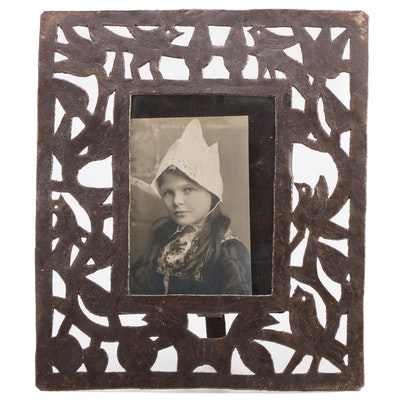 Arts and Crafts Style Pierced Metal Easel Photo Frame, Early 20th Century