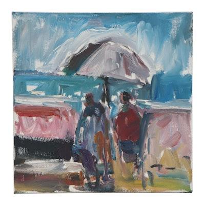 "Jose Trujillo Oil Painting ""The Umbrella,"" 2019"