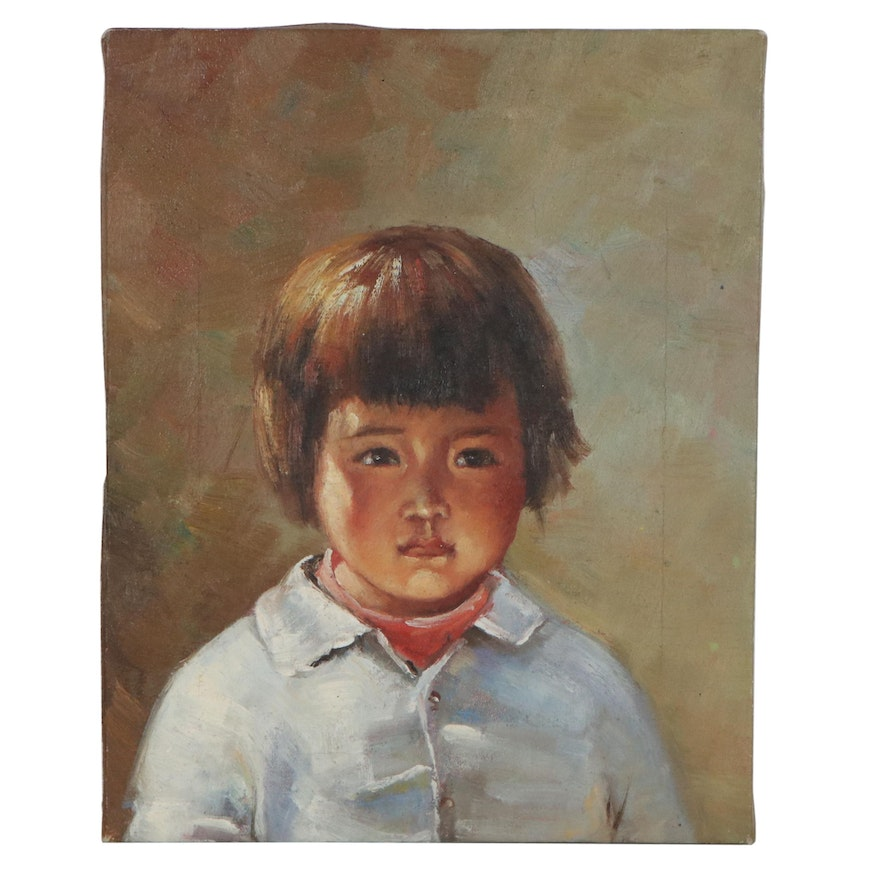 Oil Portrait Painting of Young Girl
