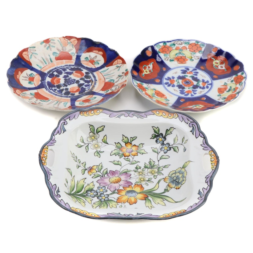 Japanese Imari  Porcelain Plates with a Nippon Serving Dish