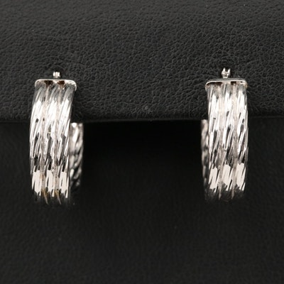 14K Textured, Fluted Hoop Earrings