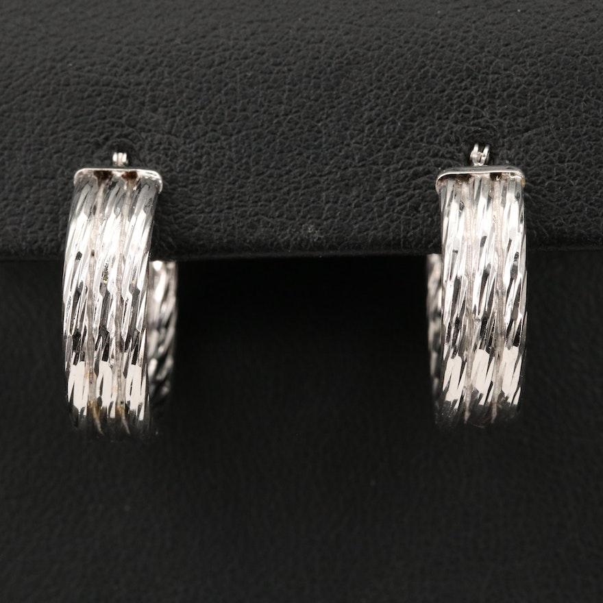14K Textured, Fluted Hoop Earrings