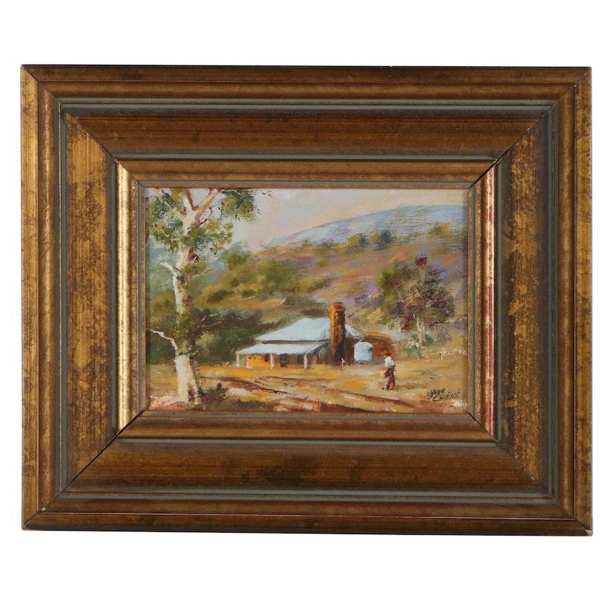 """Yves Chéné Oil Painting """"Old Cottage"""""""