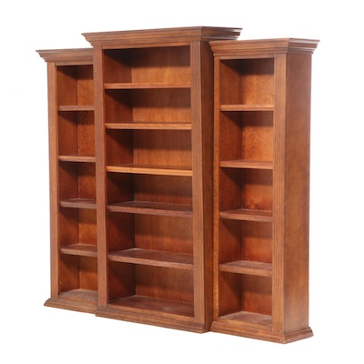 Three-Piece Derimasa Stained Wood Library Bookcase, Late 20th Century
