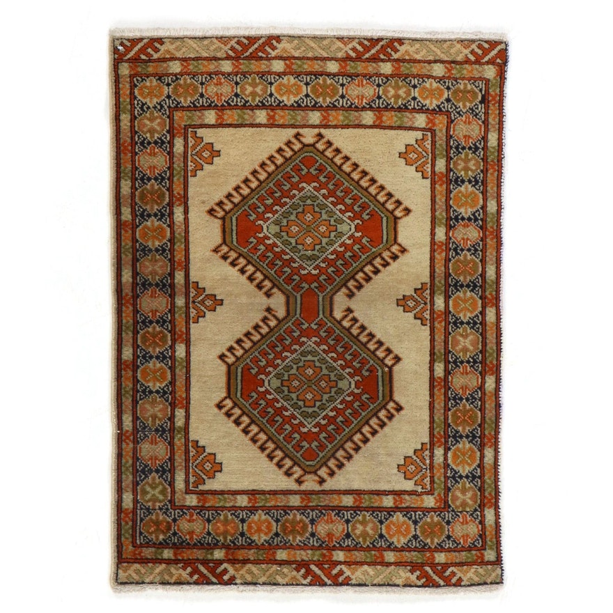 2'4 x 3'4 Hand-Knotted Persian Ardabil Rug, 1970s
