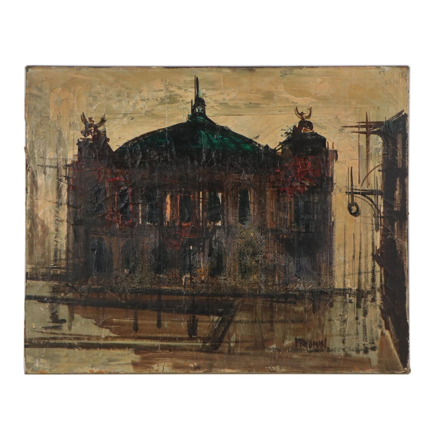 Arnold Aaron Friedman Architectural Landscape Oil Painting