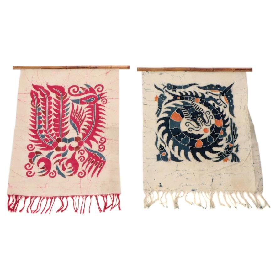 Chinese Handmade Batik Textile Wall Hangings