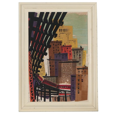 Mixed Media Cityscape, Mid-20th Century