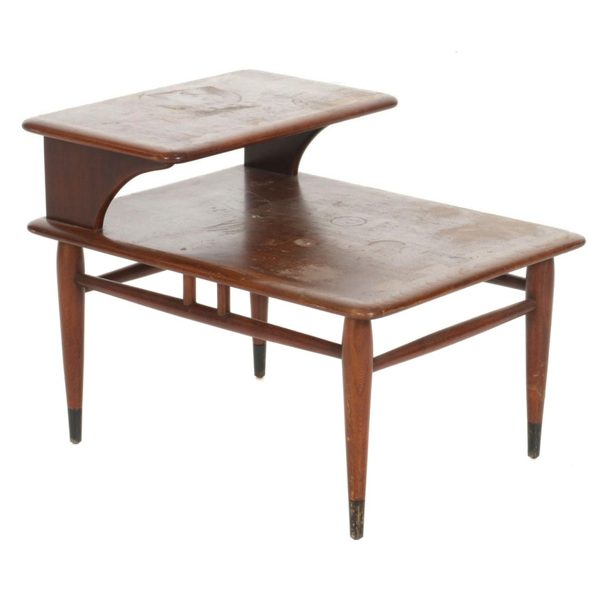 """Andre Bus for Lane """"Acclaim"""" Mid Century Modern Two-Tiered Walnut End Table"""