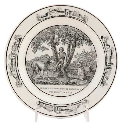 "French Black Transferware Ceramic ""Le Loup Plaidant Contre Le Renard"" Plate"