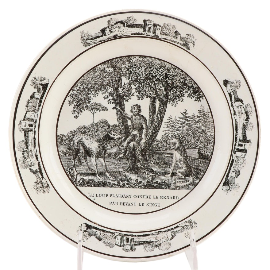 "French Black Transferware Ceramic ""Le Loup Plaidant Contre Le Renard"" Plate"
