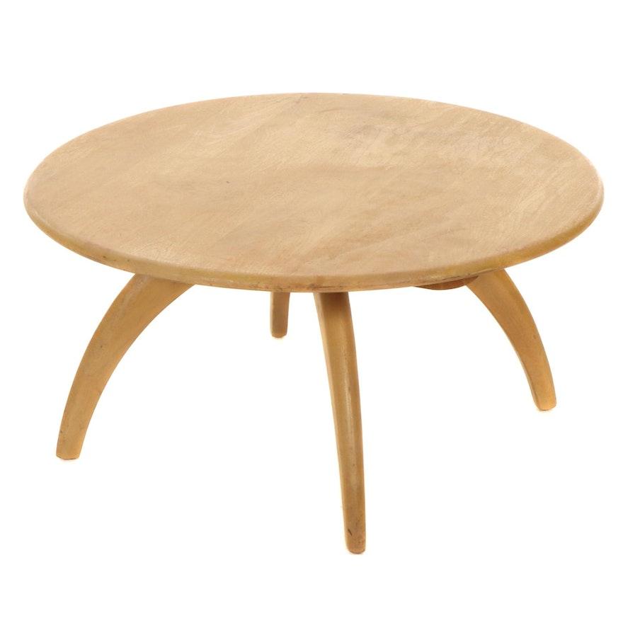 Heywood-Wakefield Yellow Birch Revolving Coffee Table, Mid-20th Century