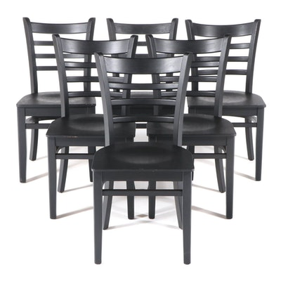 Six Contemporary Ebonized Wood Ladder-Back Side Chairs
