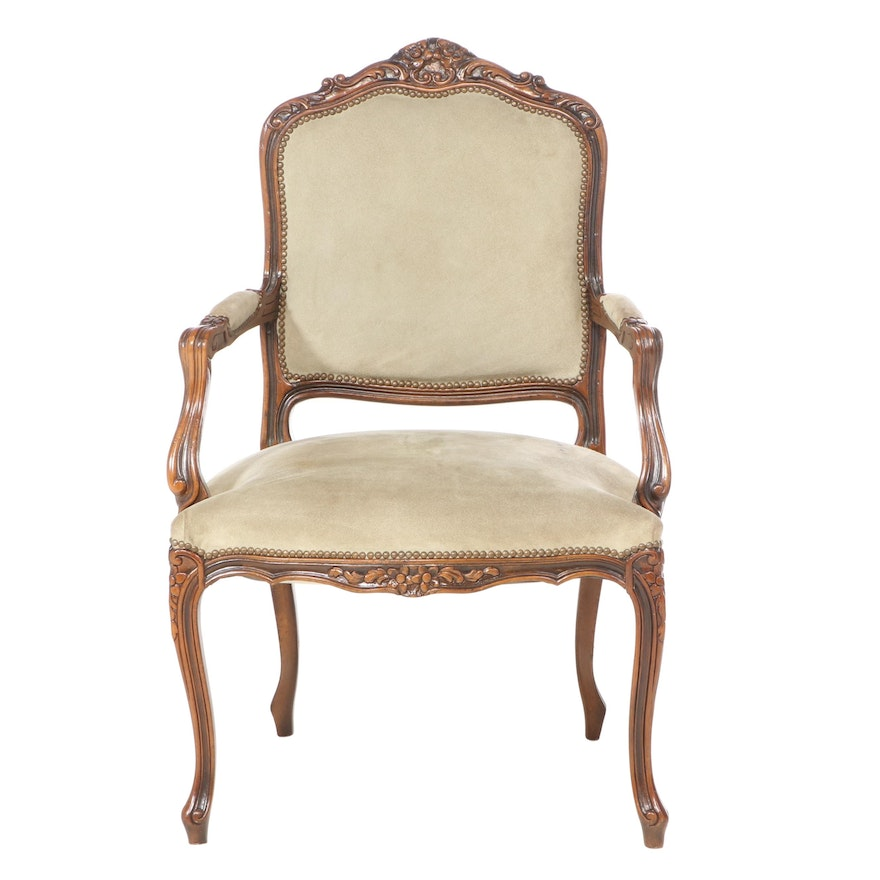 Chateau D'ax Louis XV Style Beech and Suede Fauteuil, Late 20th Century