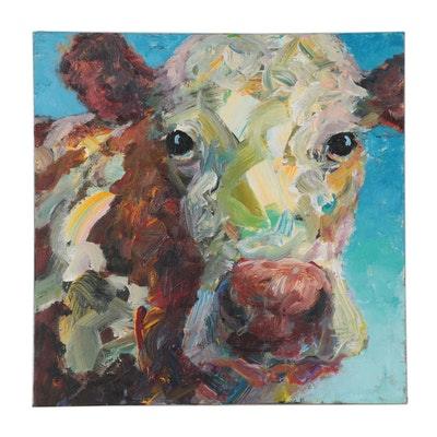 Elle Raines Cow Portrait Acrylic Painting
