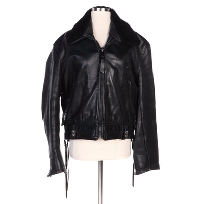Men's Custom Made Black Leather Jacket with Removable Wool Collar