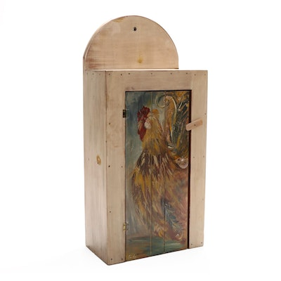 Primitive Style Wood Wall Cabinet with Signed Hand-Painted Rooster Motif