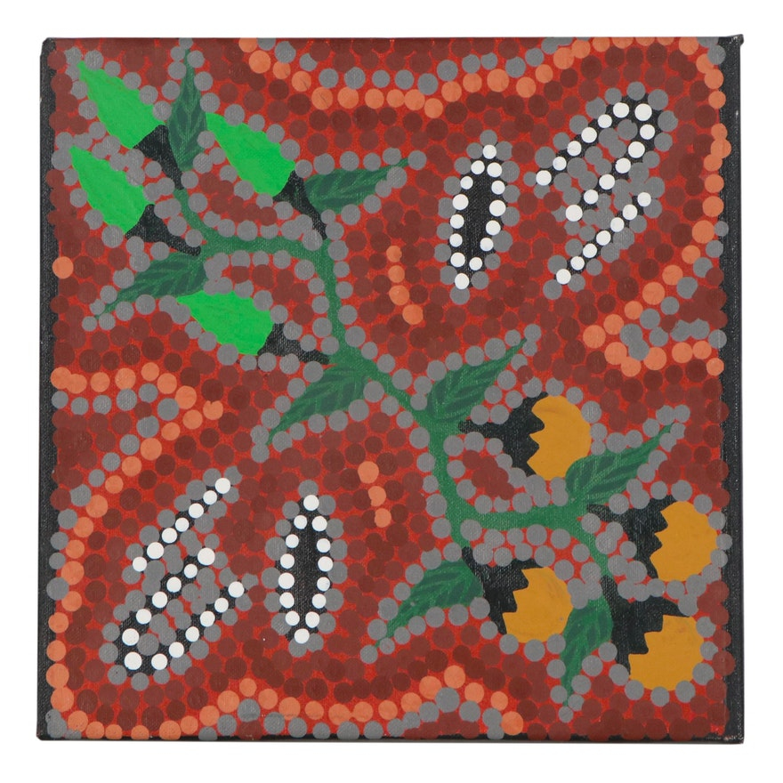 "Bevan Clancy Aboriginal Acrylic Painting ""2 Women Hunting Bush Tucker"""