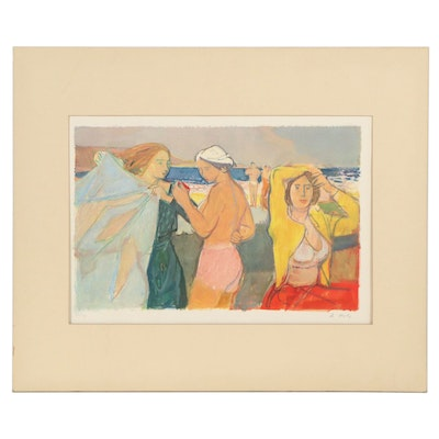 Adrien Holy Offset Lithograph of Women at Beach