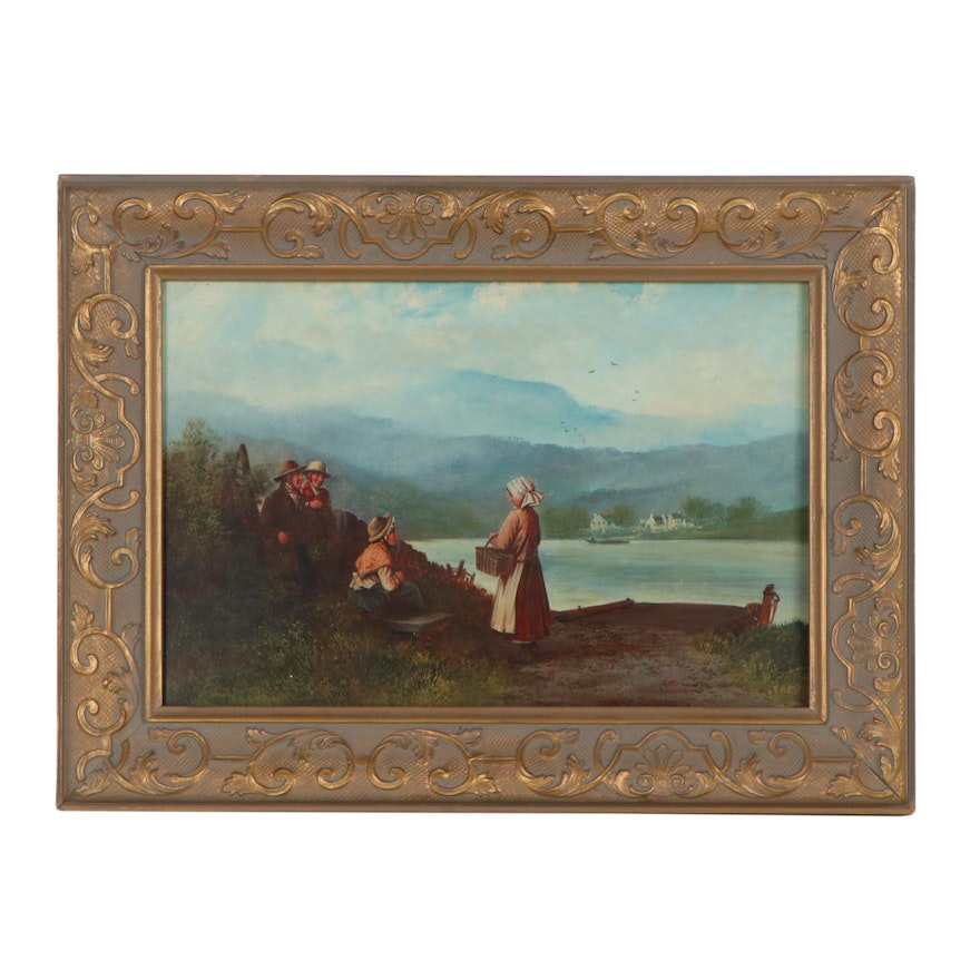 Landscape Oil Painting in the Style of Alfred H. Green, Late 19th Century
