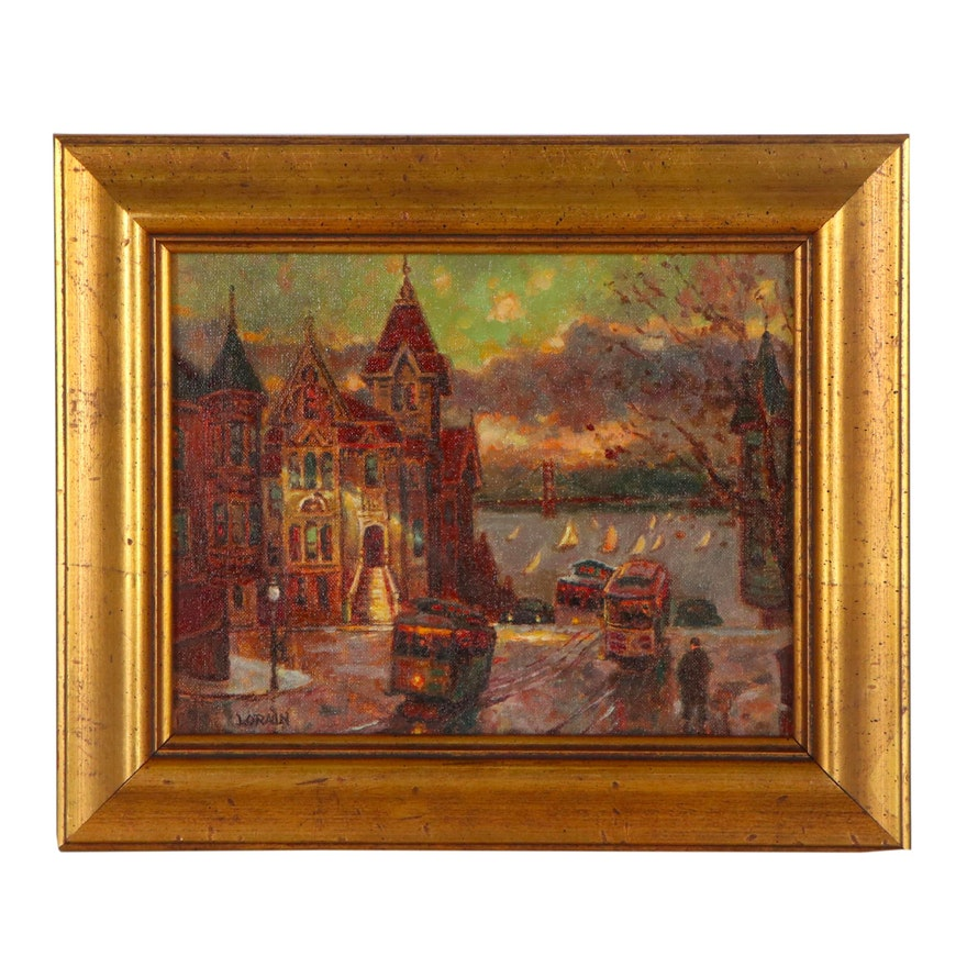 """Lorain Oil Painting """"Union Square,"""" Late 20th Century"""