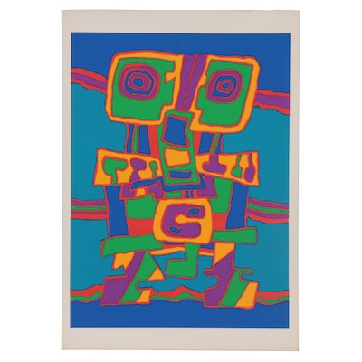 Jacques Soisson Abstract Serigraph, 1970s