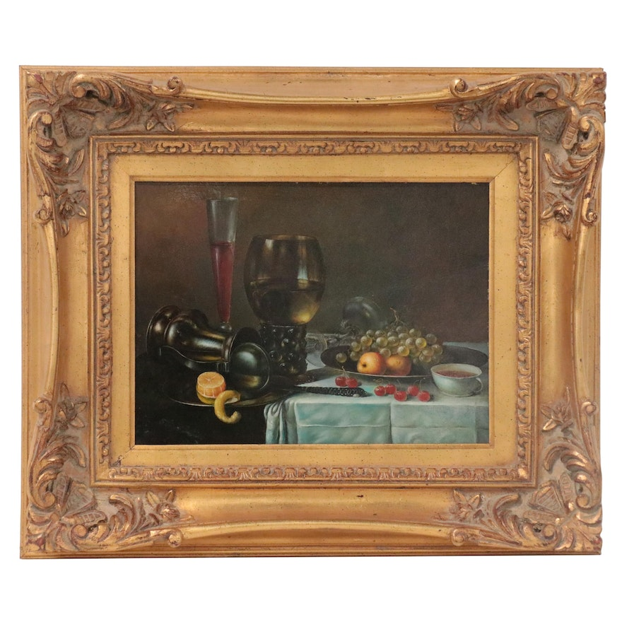 Still Life Oil Painting of Fruits and Glassware, Late 20th Century