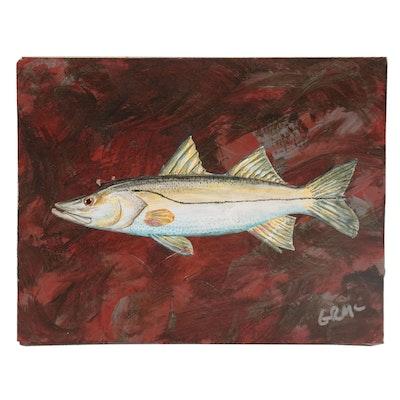 """George McElveen Wildlife Acrylic Painting """"Snook,"""" 2021"""