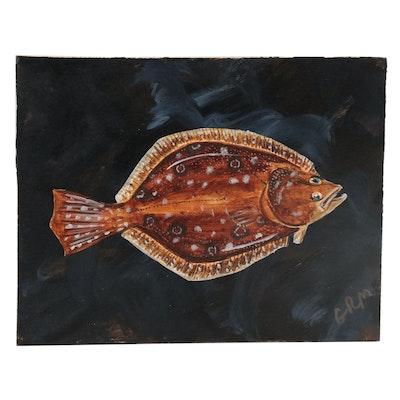 "George McElveen Wildlife Acrylic Painting ""Southern Flounder,"" 2020"