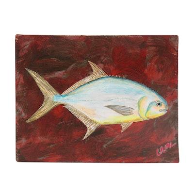 "George McElveen Wildlife Acrylic Painting ""Pompano"", 2021"