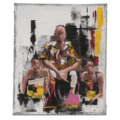Stephen Aifegha Mixed Media Painting of Three Figures, 2021