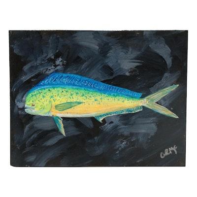 "George McElveen Wildlife Acrylic Painting ""Dolphin,"" 2021"