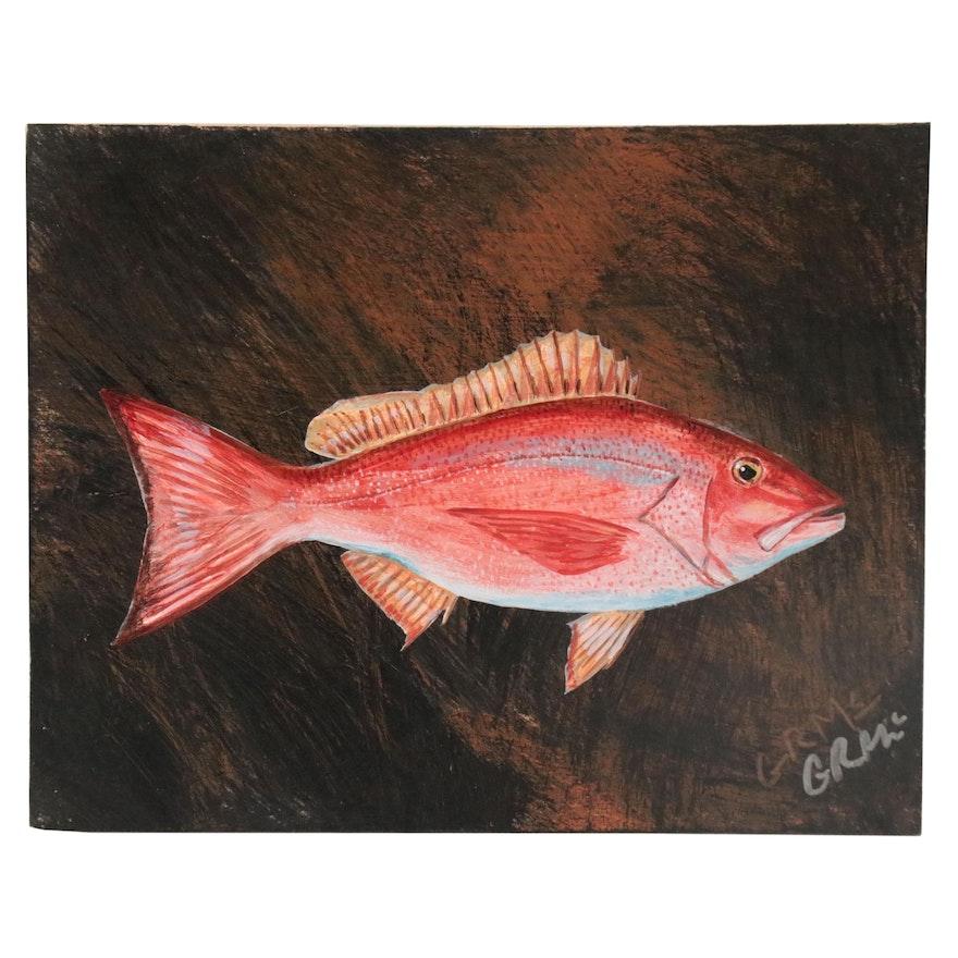 """George McElveen Wildlife Art Acrylic Painting """"Red Snapper,"""" 2020"""