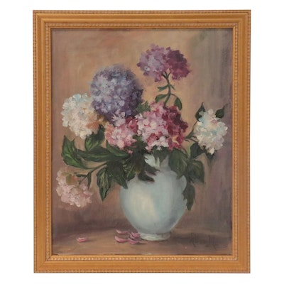 Floral Still Life Oil Painting of Hydrangeas