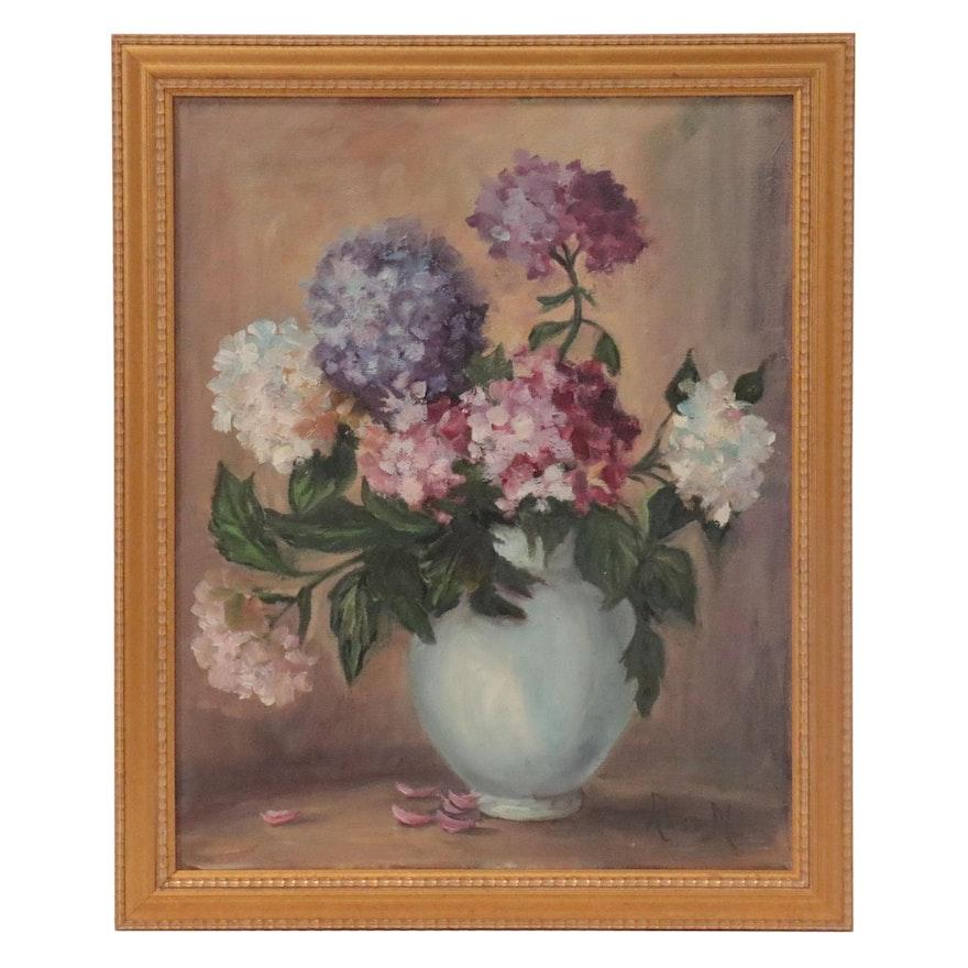 Floral Still Life Oil Painting of Hydrangeas
