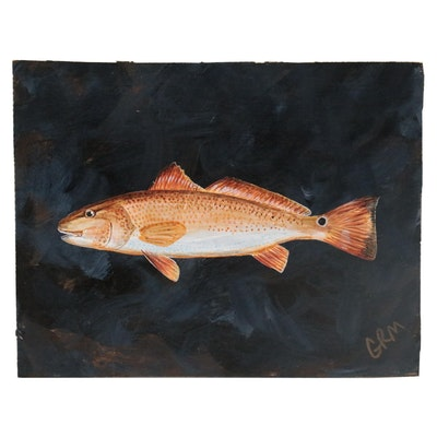 "George McElveen Wildlife Acrylic Painting ""Spottail Bass,"" 2021"