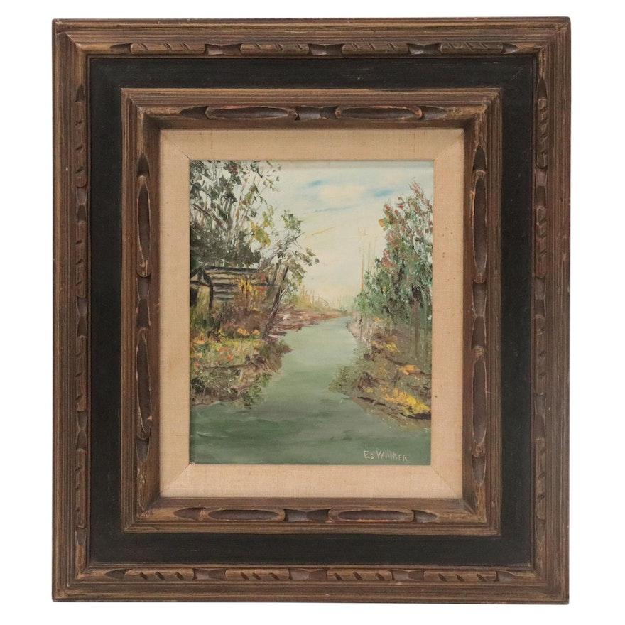 """Ed Walker Landscape Oil Painting """"Abandoned"""""""